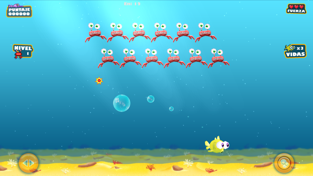 The playable fish shooting bubbles of different sizes at a formation of enemy crabs