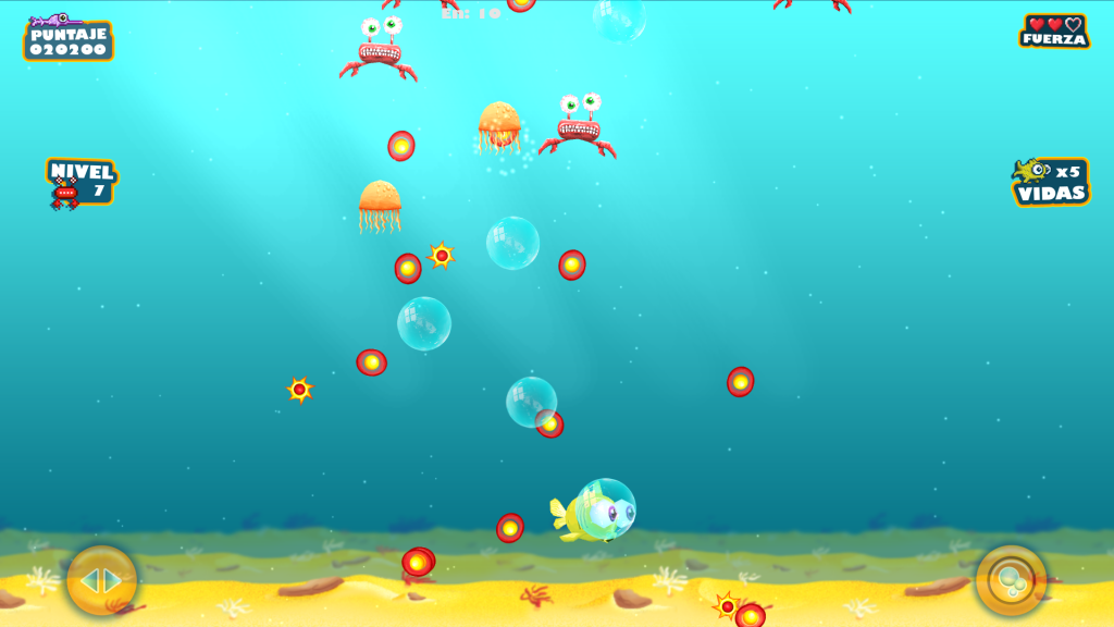 A plethora of jellyfish projectiles are approaching the player