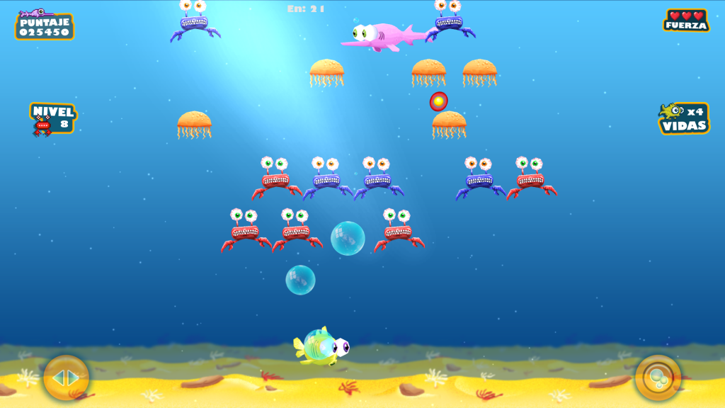 The player fish attacking a large formation of jellyfish, red and blue crabs, while a bonus swordfish switfly crosses the screen